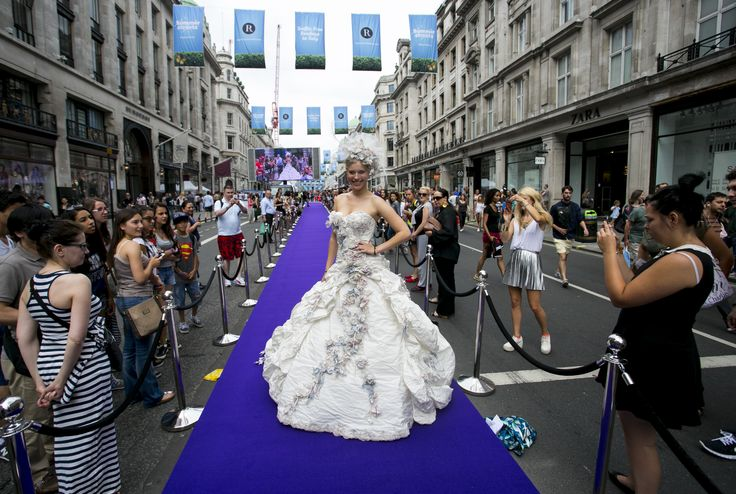 Wedding dress by Ian Stuart with the Victoria and Albert Museum and V&A Shop on the catwalk at #SummerStreets in #RegentStreet