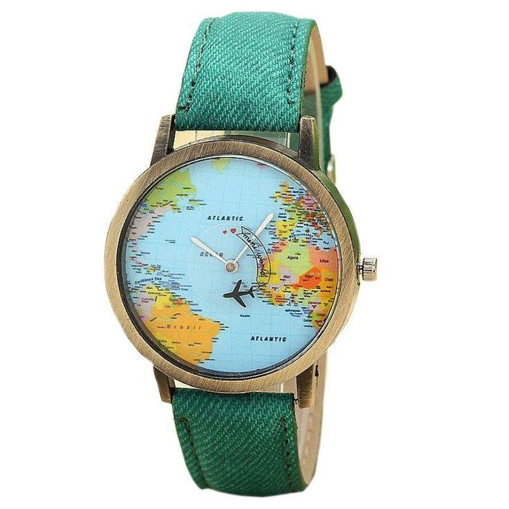 Global Travel By Plane Map Denim Band Watch