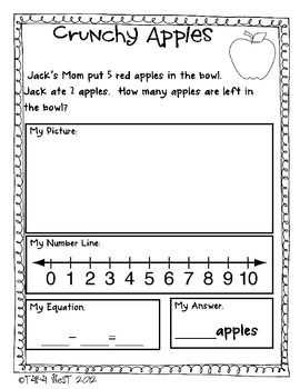Addition & Subtraction Packets!  Showing Answers in 4 ways: picture, number line, equation, and written answer! Free and $packets
