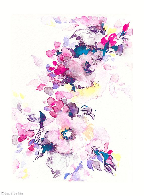 Bright watercolor, flower art, watercolor flower print, abstract flower, flower…