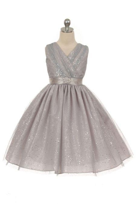 Silver flower girl dress?  Silver+Tulle+Glitter+V-Neck+Flower+Girl+Dress+MB-341-SV+on+www.GirlsDressLine.Com