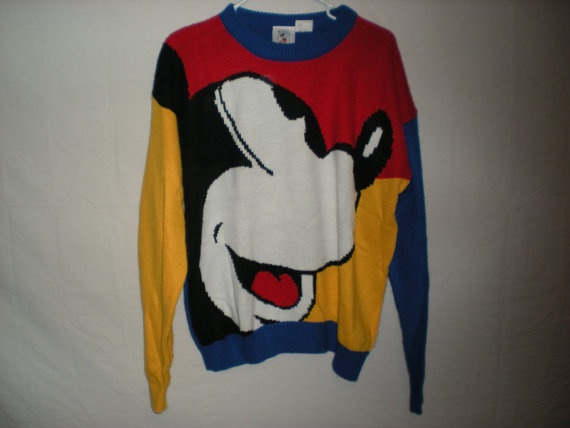 90s colorblock mickey mouse knit sweater by strungoutclothing, $75.00