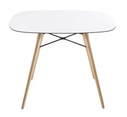 PAPATYA WOX ELEO tafel 100x100 cm wit met beuken onderstel | LevaLeva 785euro