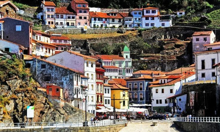 Cudillero is a beautiful coastal town located in Asturias (Spain).   The main attraction are its coloured hanging houses, with privileged views over the Cantabric Sea