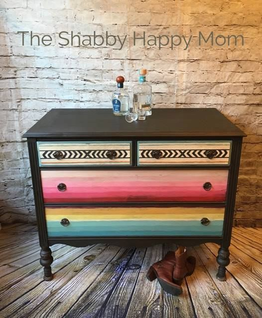 A lovely serape inspired dresser! Rebecca of The Shabby Happy Mom created this unique piece using various colors of Chalk Paint® by Annie Sloan and it's a beauty!