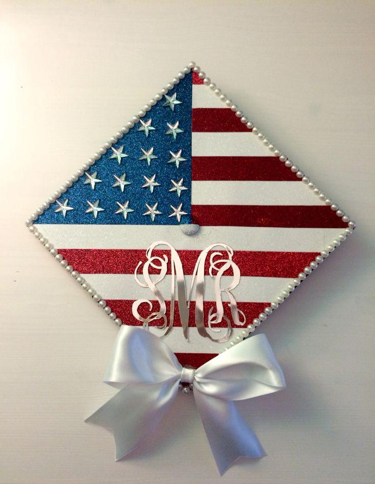 American flag graduation cap