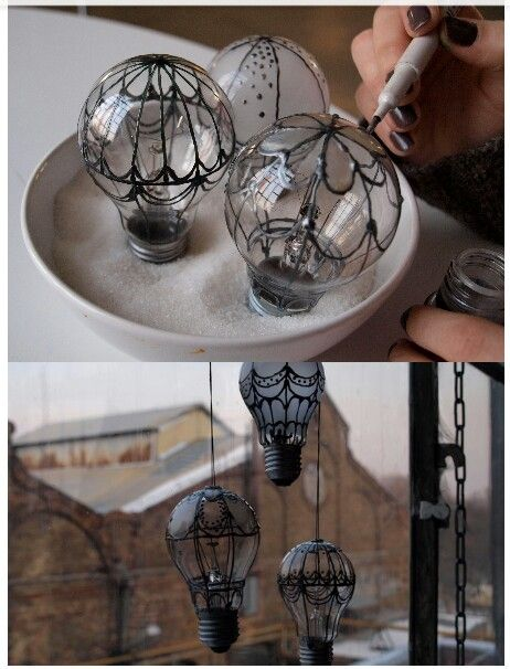 These are super cute! This seems like something that would make a fun party decoration. Used light bulbs turned into hot air balloon ornament / decor: