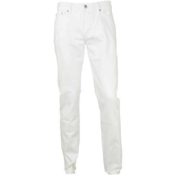 Burberry Brit Jeans ($165) ❤ liked on Polyvore featuring men's fashion, men's clothing, men's jeans, white, mens white skinny jeans and mens white jeans