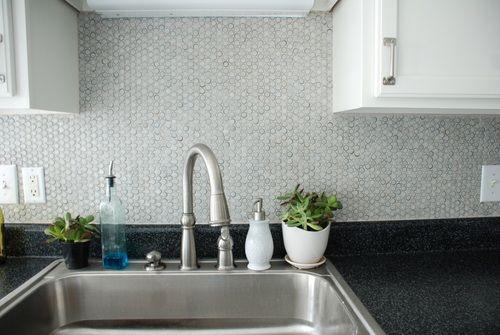 How to diy a penny tile backsplash in your kitchen for How to do a penny backsplash