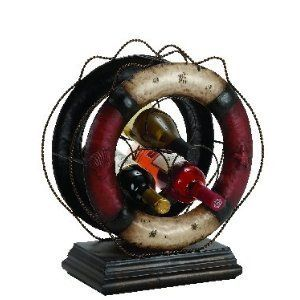 Nautical Wine Rack 16x18 by Asher Home Decorators. $62.40. If you are looking for vintage appeal and coastal accent, then this wine rack can be a great. Wine Rack can hold 3 bottles.. Wine rack is made from Cold Cast metal in Antiqued life ring finish.. Nautical Wine Rack 16x18.. Place this wine rack on top of your bar counter or in kitchen.. Nautical Wine Rack 16x18. If you are looking for vintage appeal and coastal accent, then this wine rack can be a great compleme...