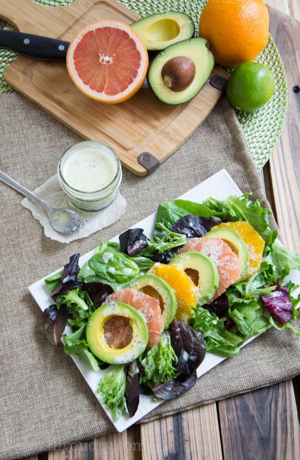 Avocado Citrus Salad with Lime Poppy Seed Dressing