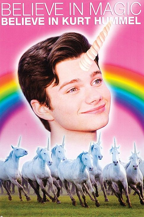 "Original poster used on Season 3, Episode 2 of ""Glee"": ""I Am Unicorn"". Kurt Hummel (Chris Colfer) is running for Class President and Brittany (Heather Morris) designs this poster for his campaign."