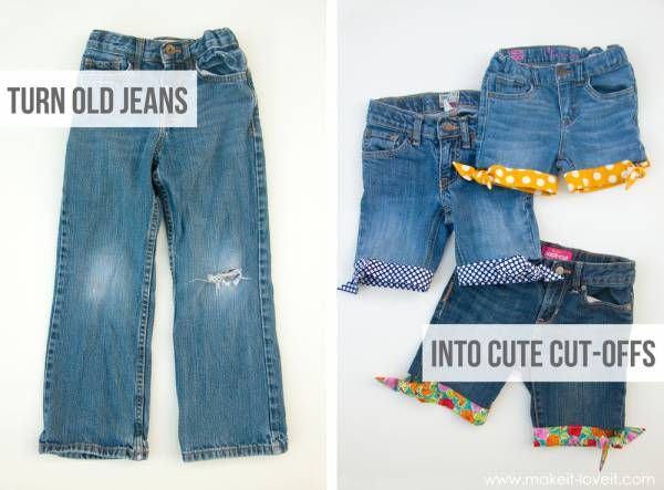 recyclage : Des shorts en jean avec un ourlet coloré