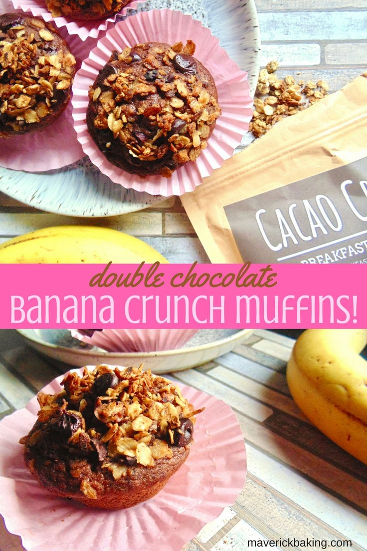 Moist chocolate banana muffins with crunchy topping! Read my honest review of brand new British company, Breakfast by Bella, and my recipe for Double Chocolate Banana Crunch Muffins using their Cacao Crazy granola!