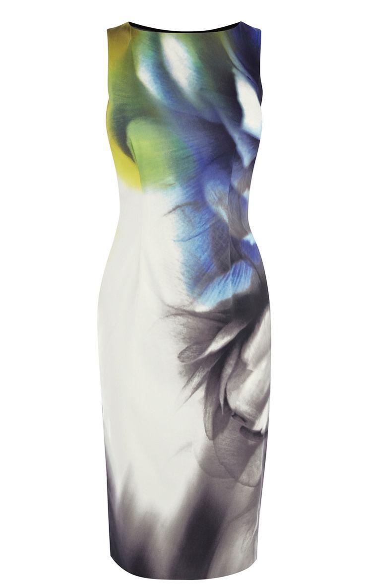 White Blue Sleeveless Back Sheer Floral Dress