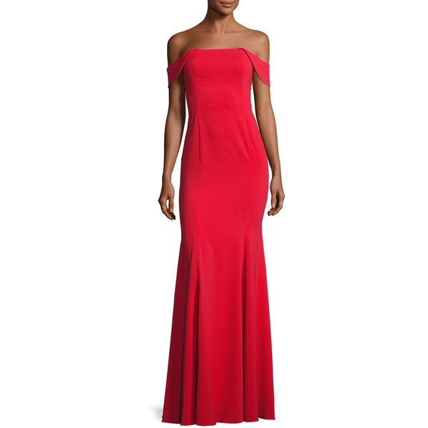 Jay Godfrey Biles Off-the-Shoulder Mermaid Gown ($495) ❤ liked on Polyvore featuring dresses, gowns, red, strapless gown, red off the shoulder dress, red evening gowns, red off shoulder dress and off the shoulder evening gown