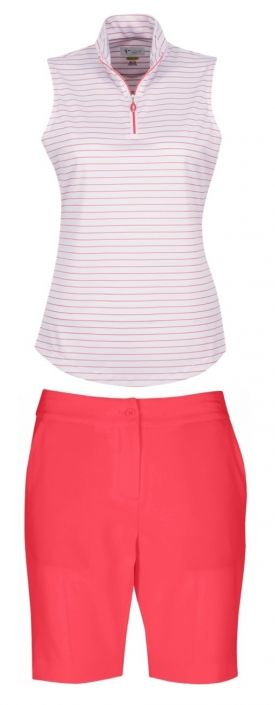Essentials (Calypso Coral) Greg Norman Ladies Golf Outfits (S/L Shirt & Short). Find the best ladies   outfits at #lorisgolfshoppe