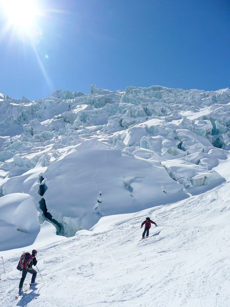 One of the best ski resorts in Europe glaciers in vallee blanche mont blanc chamonix france