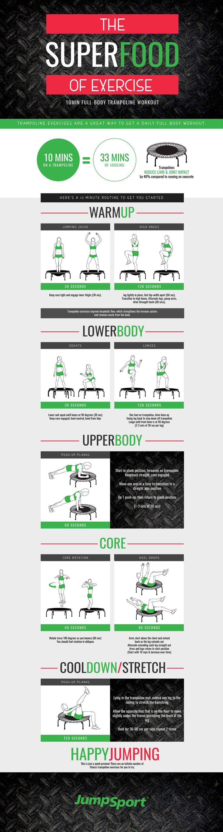 Get fit at home with this JumpSport® fitness trampoline workout! Visit http://www.jumpsport.com/trampoline-exercises-visual-guide to see this step by step workout guide with their fitness trampoline.  (New Products Creative)