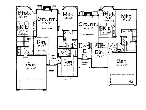 45 best house plans duplex images on pinterest house for Up down duplex floor plans
