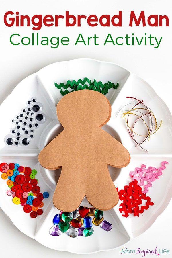 Gingerbread man collage art activity for kids. A Christmas craft for preschoolers. via @danielledb
