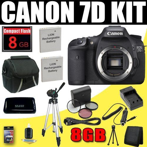 Canon EOS 7D 18 MP CMOS Digital SLR Camera Body Only + 8GB Deluxe Accessory Kit by DavisMAX. $1197.65. Supplied Manufacturer's Accessories: LP-E6 Rechargeable Lithium-Ion Battery Pack (7.2V, 1800mAh) LC-E6 Battery Charger IFC-200U USB Interface Cable - 6.9' (1.9 m) Stereo A/V Cable AVC-DC400S Wide Neck Strap EW-EOS7D Eyecup Eg Software CD-ROM Instruction Manual 1 Year Canon USA Warranty PLUS ! This DavisMAX Bundle Includes: 1- Canon EOS 7D 18 MP CMOS Digital SLR Camera Brand ...