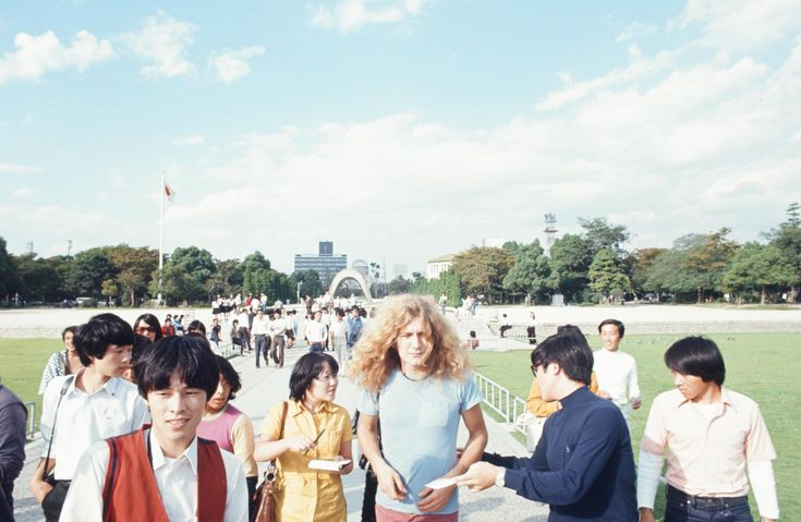 Robert Plant of Led Zeppelin, Hiroshima, Japan, 1971. These bizarre photos show the world's biggest rock stars as tourists in 1970s Japan
