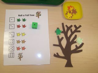 herfst: Fall Tree Dice Game--bump it up with two dice and make it an addition game