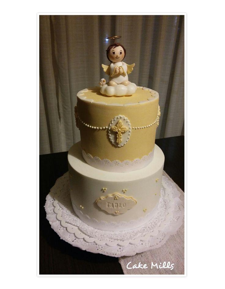 Baptism Cake in yellow