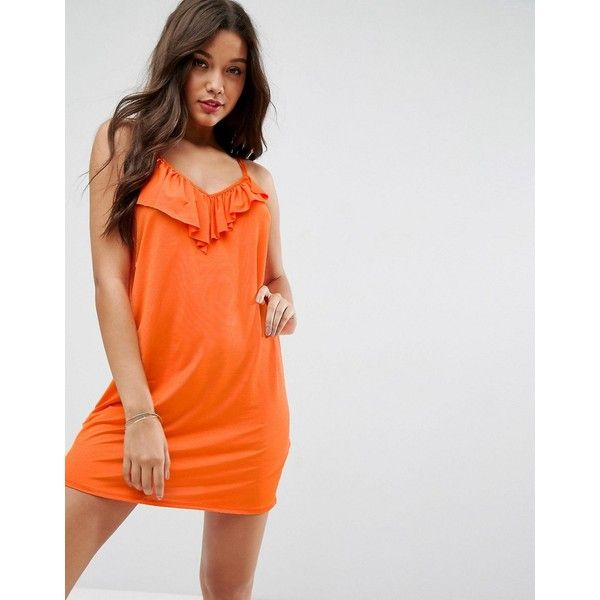 ASOS Mini Dress With Asymmetric Frill Detail In Slinky (£20) ❤ liked on Polyvore featuring dresses, orange, ruffle prom dress, jersey dress, mini dress, orange cami and asos dresses