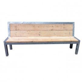Stabilo dichte leuning   Bank van verzinkt staal en steigerhout met dichte leuning 200x40x60cm