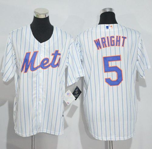 Mets #5 David Wright White(Blue Strip) Home Cool Base Stitched Youth MLB