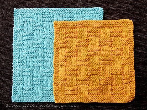 August 2016. Hand Knit Dishcloth #4 -  Blocks. It is simple and symmetrical.