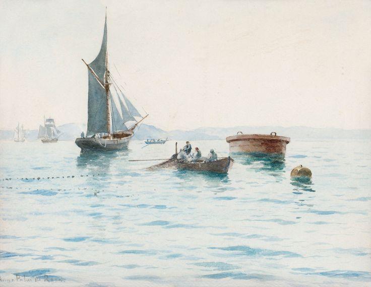 Anna Palm (1859-1924): Fiskebåt lägger ut nät