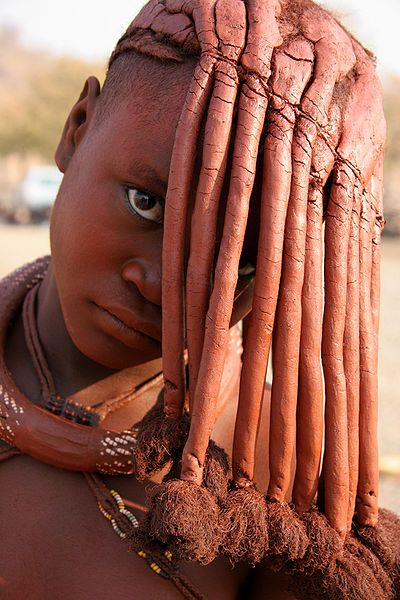 African hair shaped using red ochre and butter by the Namibie Himba.