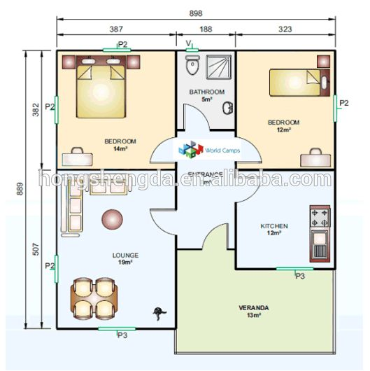 100m2 modern prefab steel frame house plans view 100m2 for View floor plans for metal homes