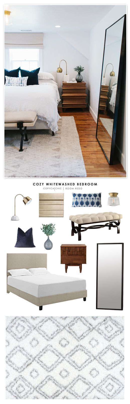 Copy Cat Chic Room Redo | Cozy Whitewashed Bedroom | | Copy Cat Chic | chic for cheap | Bloglovin'