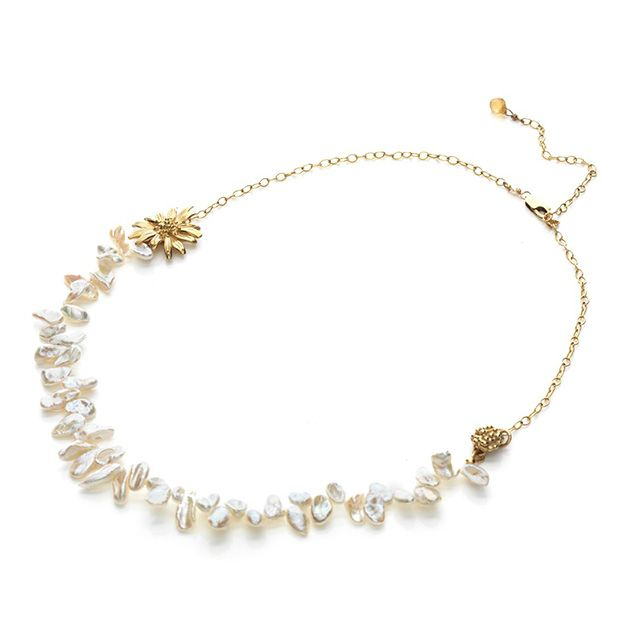 Bridal Pearl Necklace    Organic freshwater pearl necklace with gold plated flower motif      $250