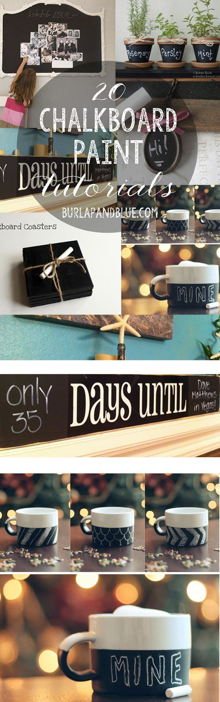 My favorite crafts and tutorials using chalkboard paint! Chalkboard paint can be used for many different projects. Jump on this new train that everyone is starting to love.