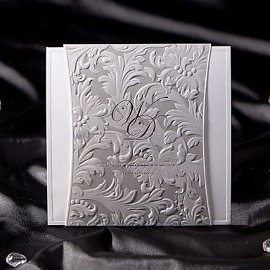 Gorgous Silver Embossed Folded Wedding Invitation (Set of 50) – USD $