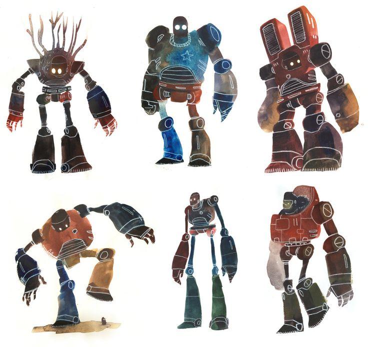 Watercolour Robots 1 by Duffzilla.deviantart.com on @deviantART https://www.facebook.com/CharacterDesignReferences
