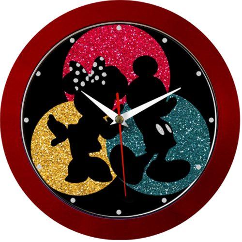 Ceas Sclipici    eas de perete cu siluetele faimoaselor personaje de desene animate, Minnie si Mickey. De jur imprejur este sclipici colorat, rosu, albastru, galben si argintiu.