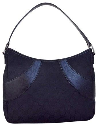 7858706830f Gucci Gg Pattern Shoulder Italy 05eb209 Black Canvas Leather Hobo Bag