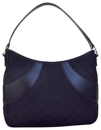 86240e6dbf48 Gucci Gg Pattern Shoulder Italy 05eb209 Black Canvas Leather Hobo Bag