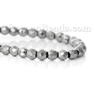 """(Grade A) Natural Hematite Beads Round Silver Tone Faceted About 4mm( 1/8"""") Dia, Hole: Approx 0.5mm, 40cm(15 6/8"""") long, 1 Strand (Approx 95 PCs/Strand)"""