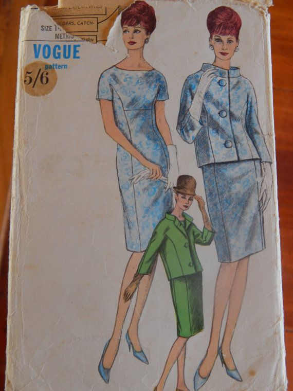 1960s One Piece Dress and Jacket Vogue