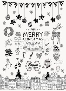 Hand-drawn Christmas Doodle Icons and Elements Royalty Free Stock Vector Art Illustration