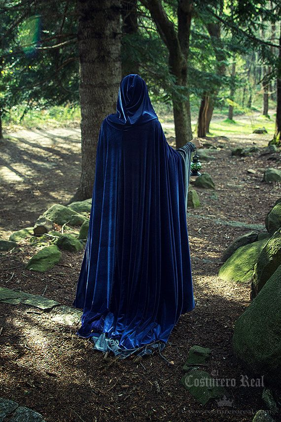 Blue Velvet Elven Wizard Witch Cloak Medieval Fantasy Cape