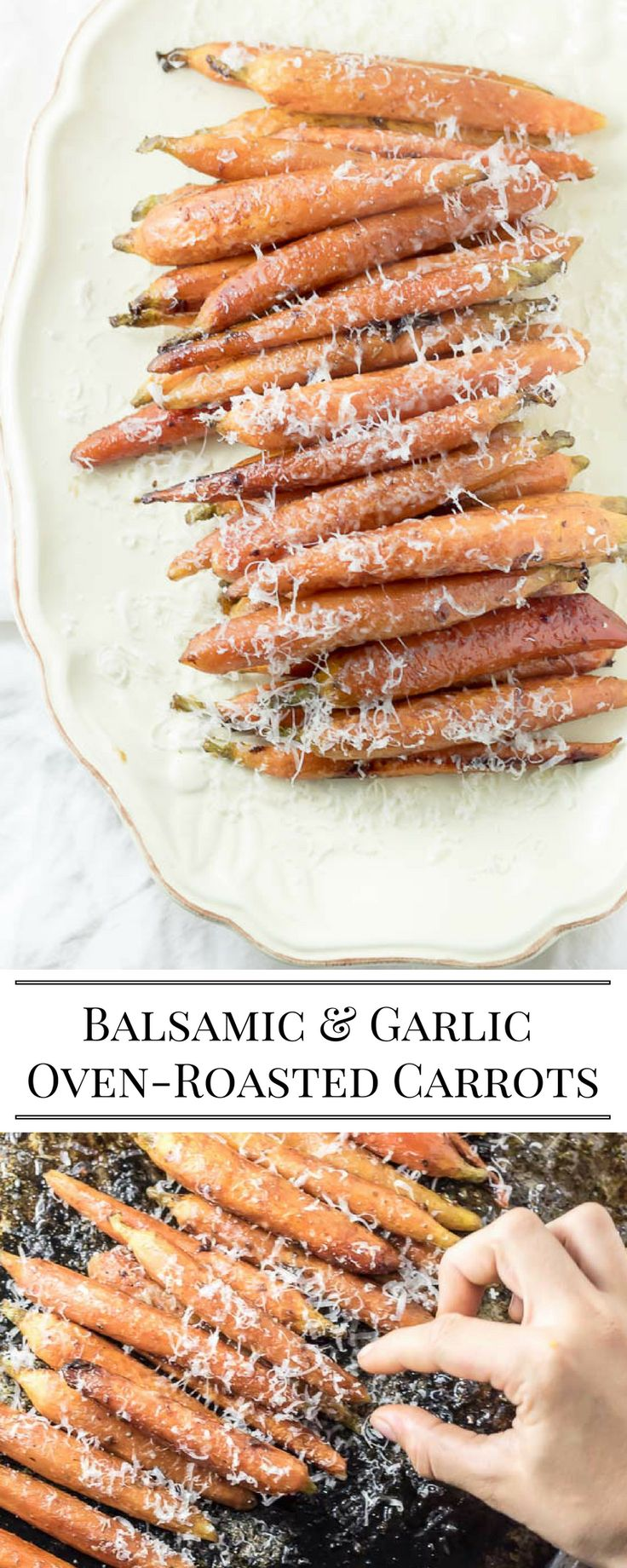 Oven -roasted Balsamic and Garlic Carrots. A simple side dish recipe - easy to make for the holiday table.