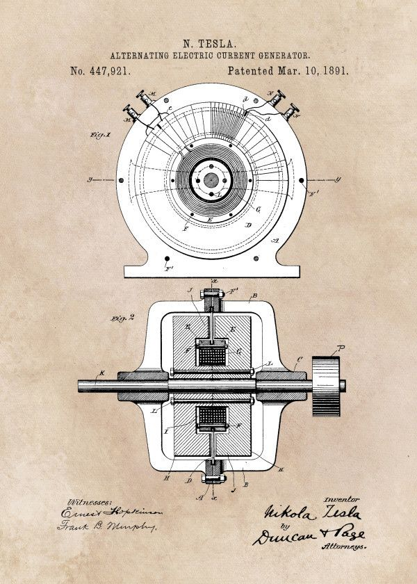 patent art tesla 1891 alternating